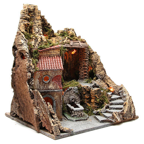 Pueblo con cueva y fuente para belén de Nápoles 38x45x35 cm 3