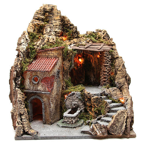 Bourgade avec grotte et fontaine crèche Naples 38x45x35 cm 1