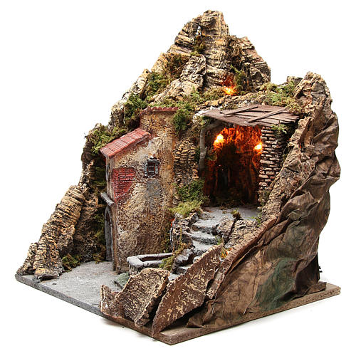 Bourgade avec grotte et fontaine crèche Naples 38x45x35 cm 2