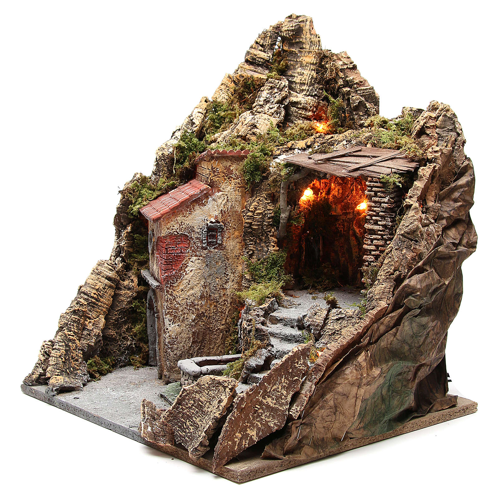 Borgo con grotta e fontana presepe Napoli 38x45x35 cm 4