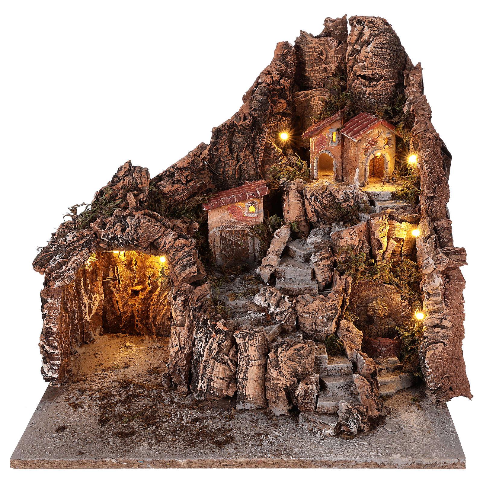 Neapolitan nativity scene village with cave and fountain 40x34x40 cm 4