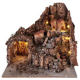 Neapolitan nativity scene village with cave and fountain 40x34x40 cm s1