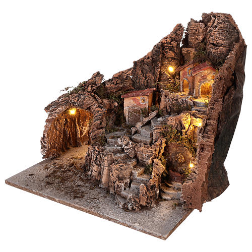 Neapolitan nativity scene village with cave and fountain 40x34x40 cm 2