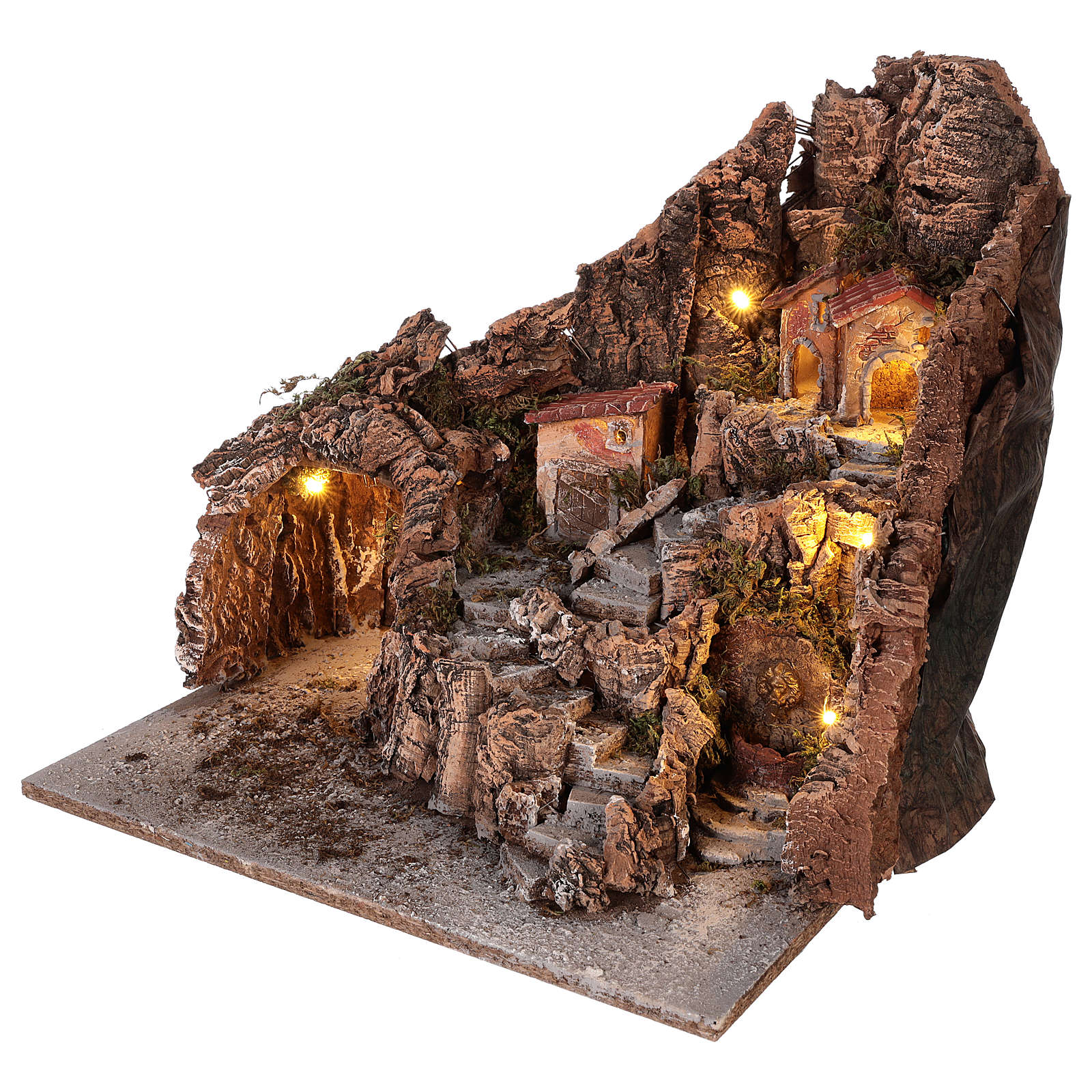 Pueblo con cueva y fuente belén napolitano 40x34x40 cm 4