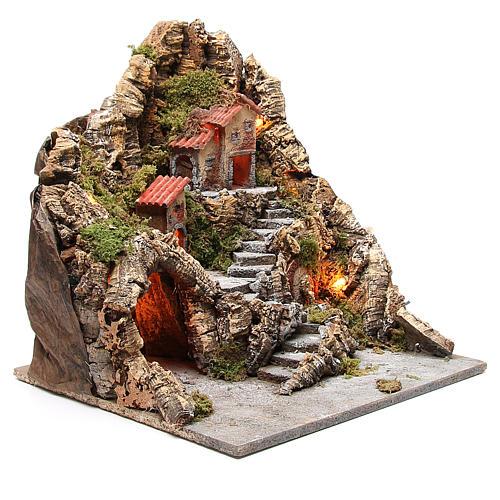 Pueblo con cueva y fuente belén napolitano 40x34x40 cm 3
