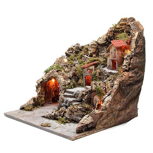 Bourgade avec grotte fontaine crèche napolitaine 40x34x40 cm 2