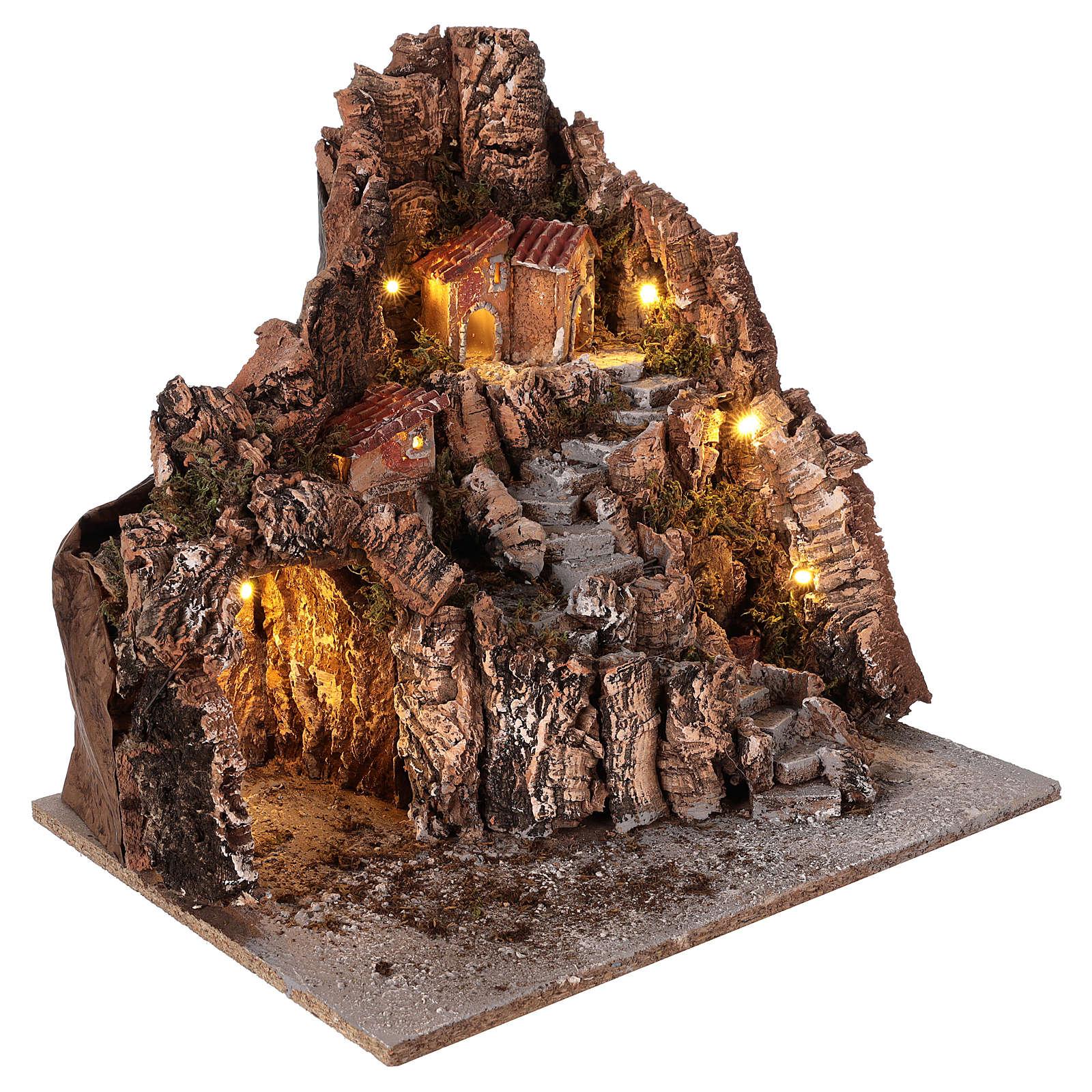 Borgo con grotta fontana presepe napoletano 40x34x40 cm 4
