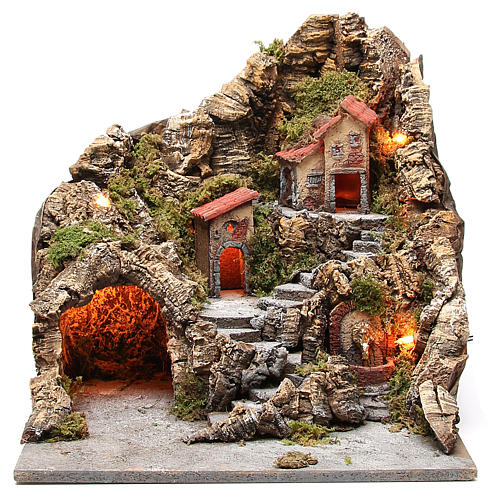 Borgo con grotta fontana presepe napoletano 40x34x40 cm 1
