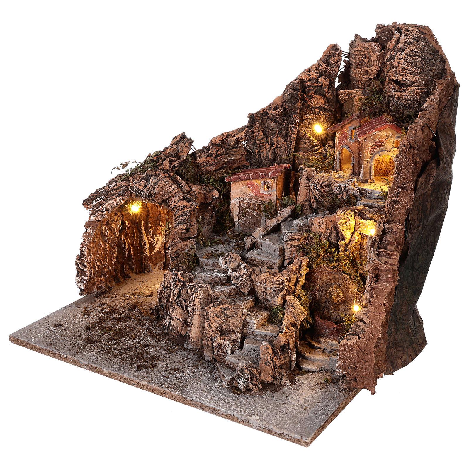 Miasteczko z grotą i fontanną szopki neapolitańskiej 40x34x40 cm 4