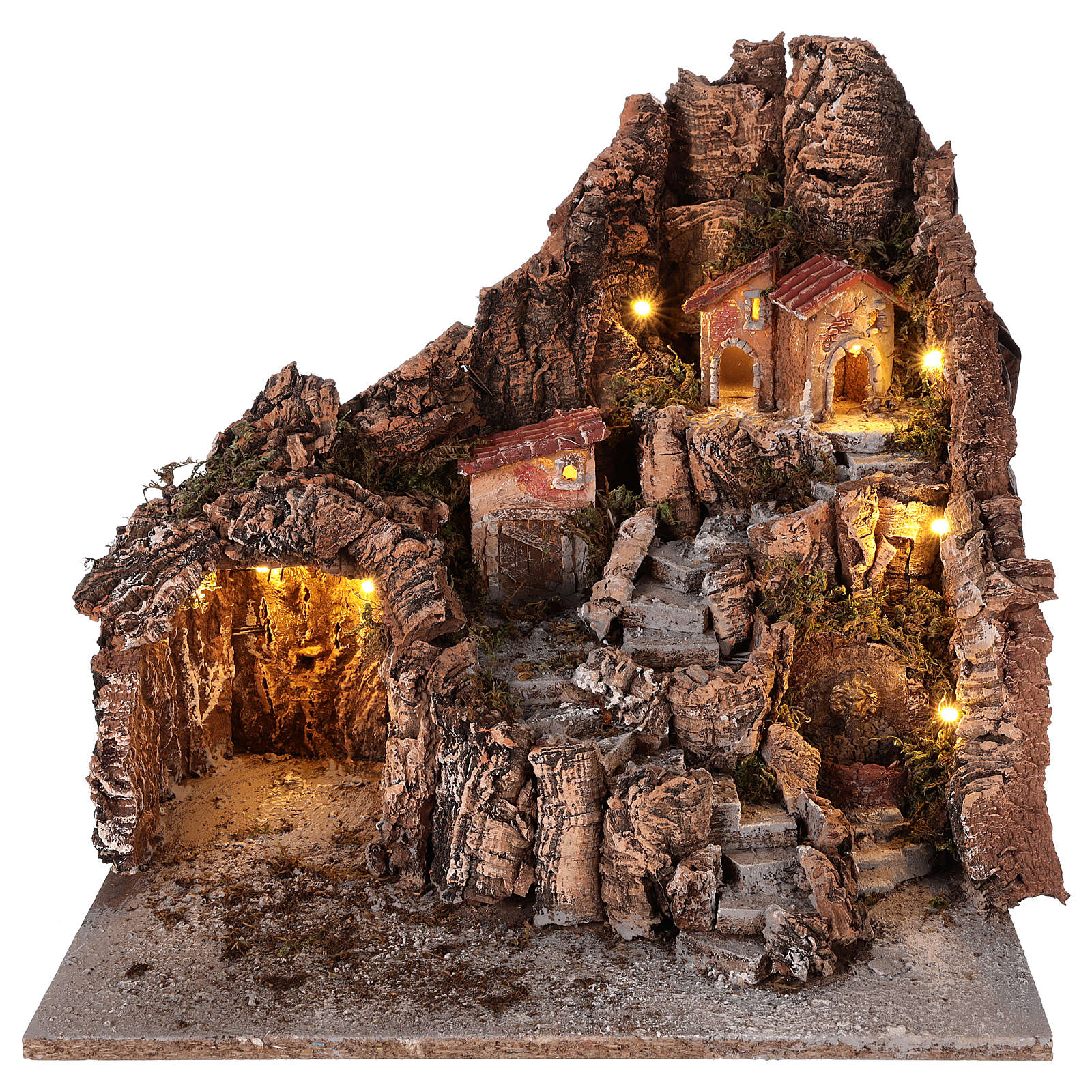 Neapolitan nativity scene village with cave and fountain 40x34x40 cm 4