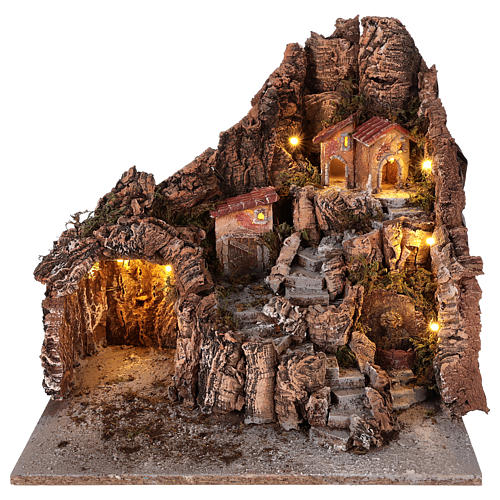 Neapolitan nativity scene village with cave and fountain 40x34x40 cm 1