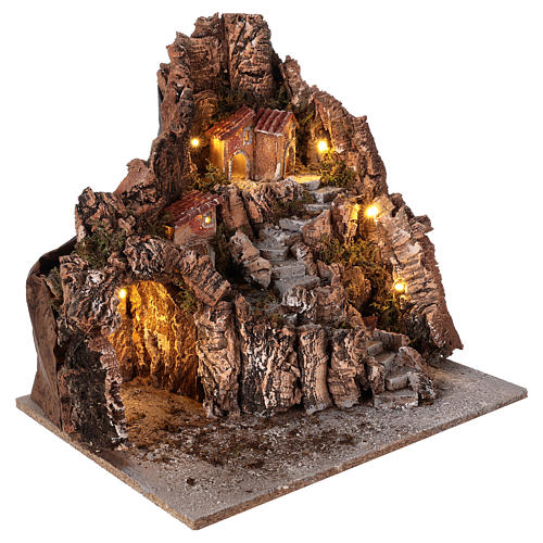 Neapolitan nativity scene village with cave and fountain 40x34x40 cm 3
