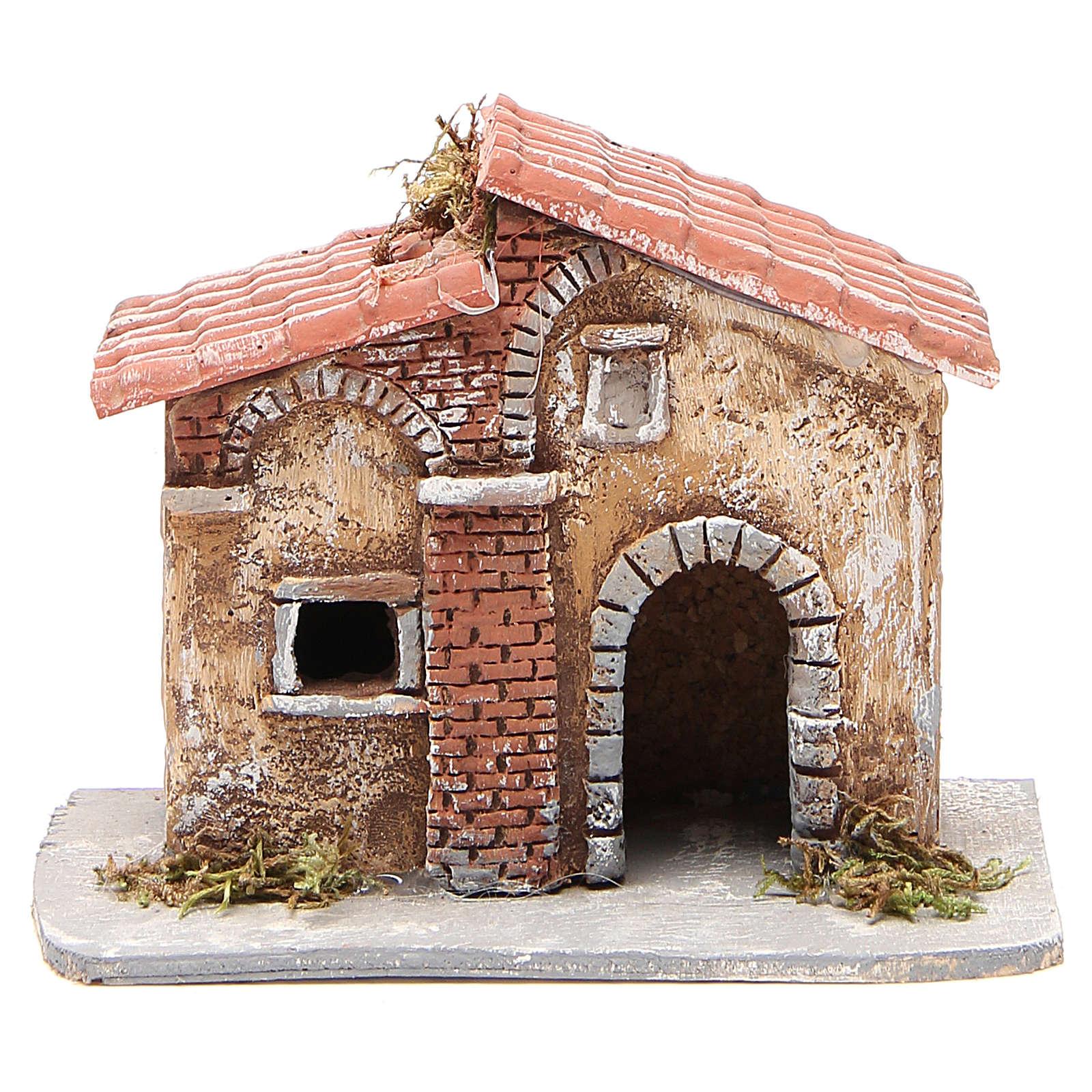 Casita corcho y resina belén Nápoles 15x15x11 cm 4