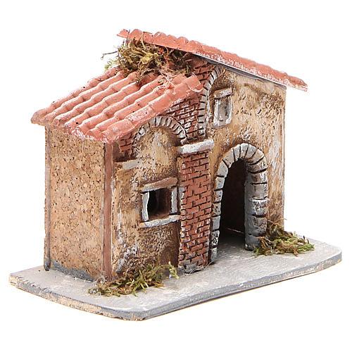 Casita corcho y resina belén Nápoles 15x15x11 cm 3