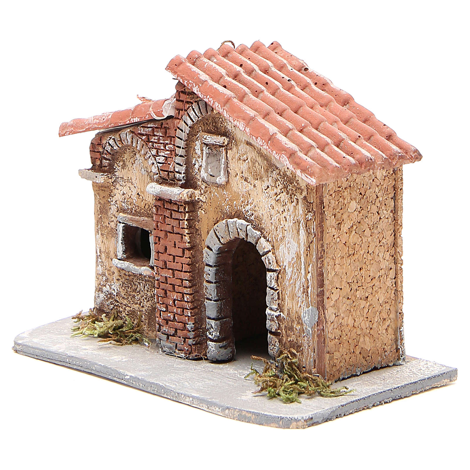 House in cork and resin for Neapolitan nativity 15x15x11cm 4