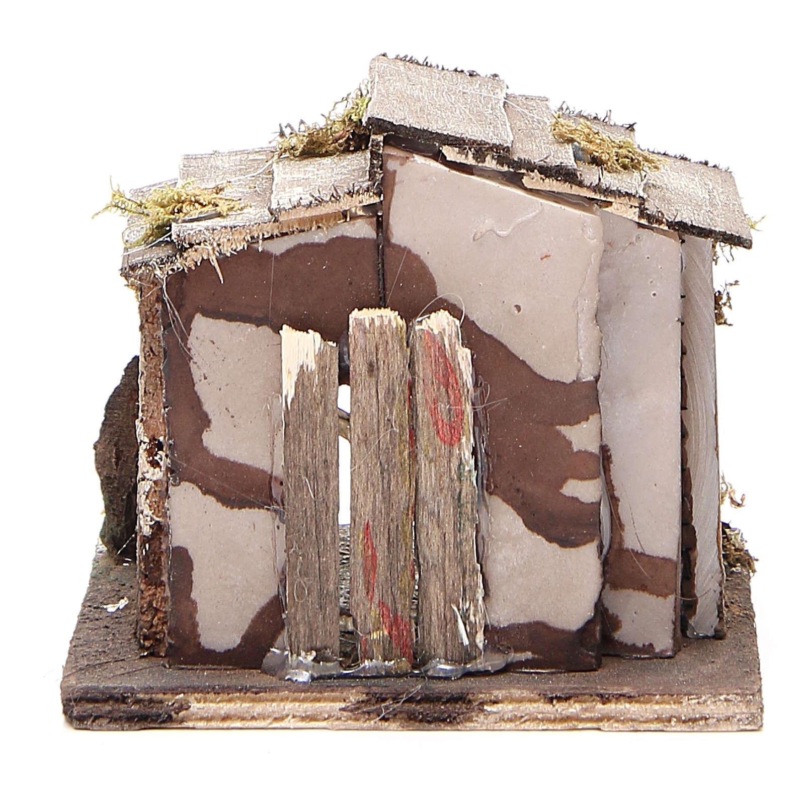 Capanna legno presepe napoletano 13x12x11 cm 4