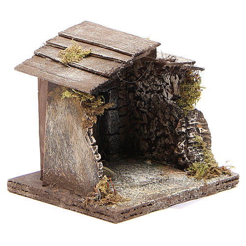 Wooden stable for Neapolitan nativity 13x12x11cm 3