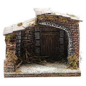 Stable in wood, resin and cork for Neapolitan Nativity 14x15x10cm s1