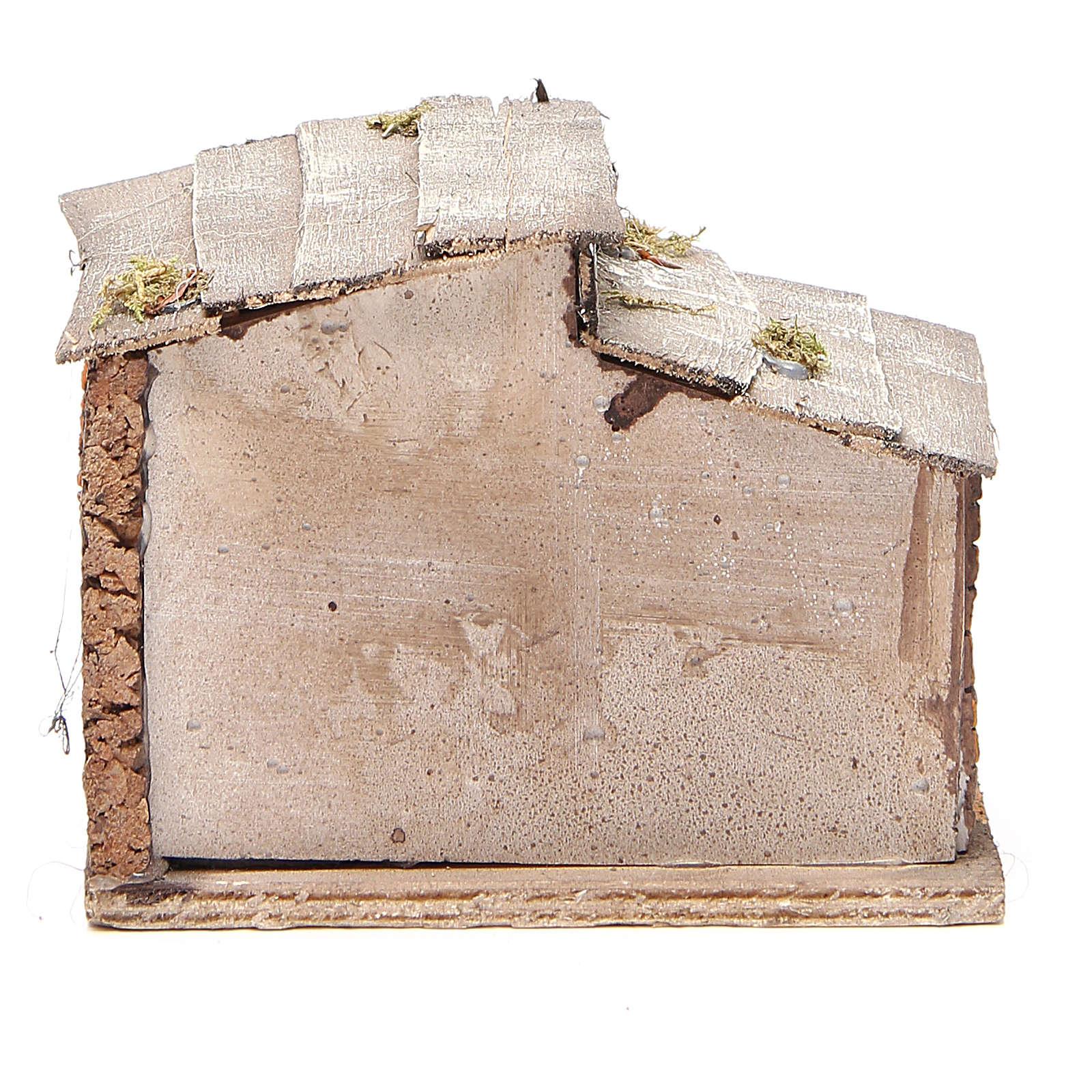 Capanna legno resina sughero presepe Napoli 14x15x10 cm 4