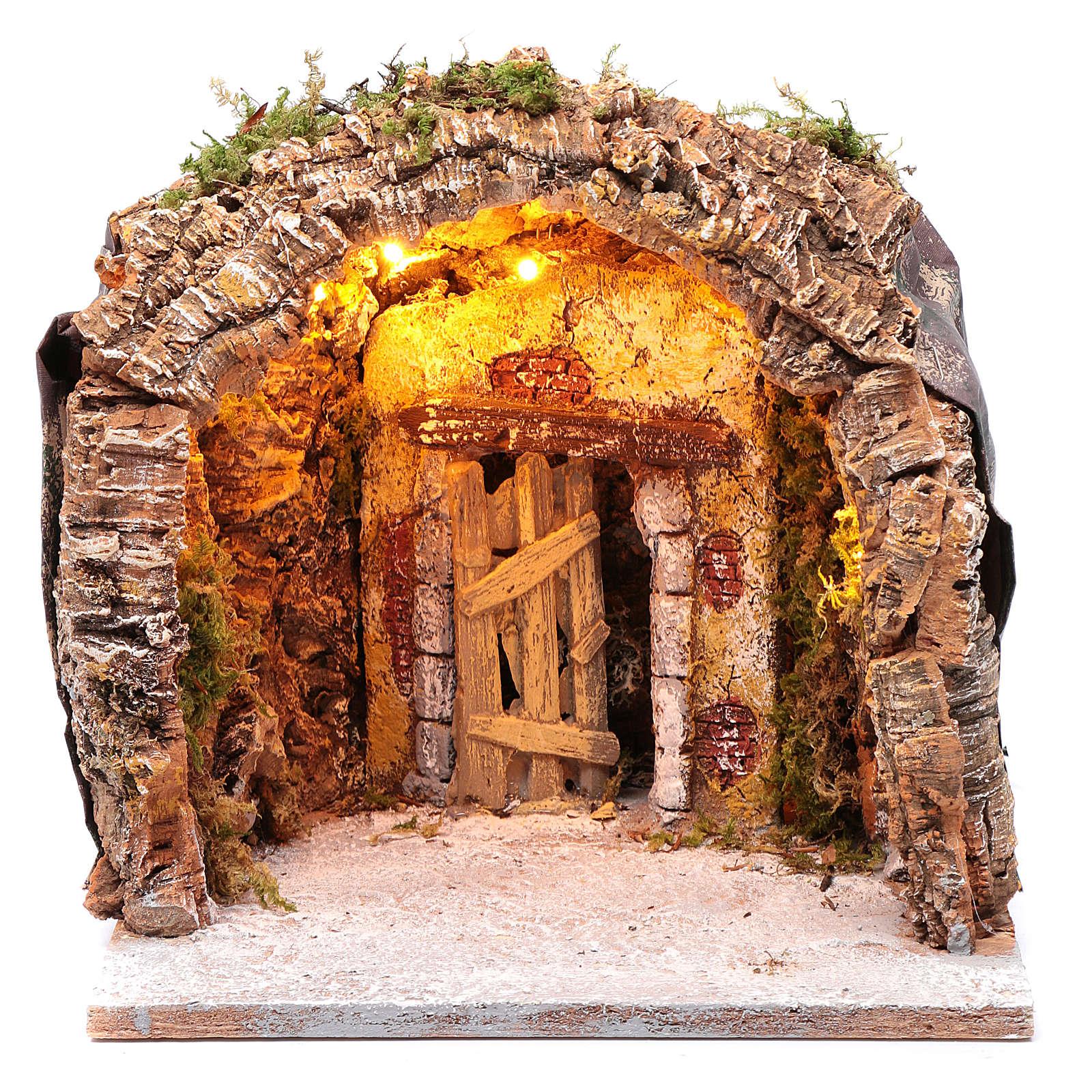Gruta iluminada belén Nápoles 28x25x26 cm corcho y madera 4