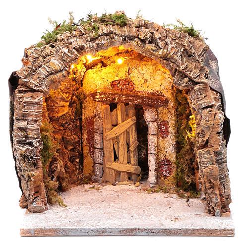 Gruta iluminada belén Nápoles 28x25x26 cm corcho y madera 1