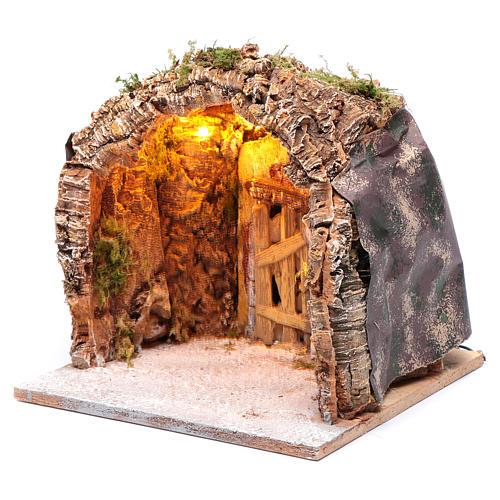 Gruta iluminada belén Nápoles 28x25x26 cm corcho y madera 2