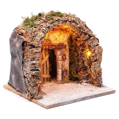 Gruta iluminada belén Nápoles 28x25x26 cm corcho y madera 3