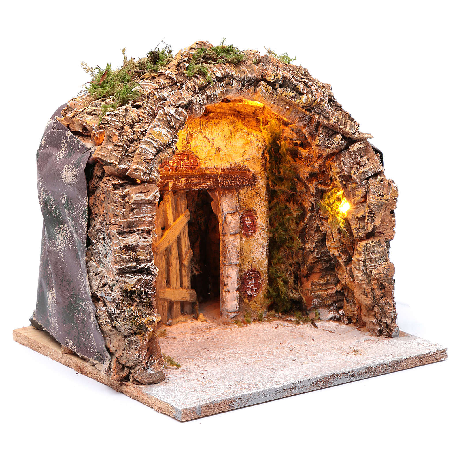 Illuminated grotto in wood and cork, nativity scene 28x25x26cm 4