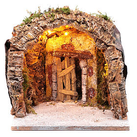 Illuminated grotto in wood and cork, nativity scene 28x25x26cm s1