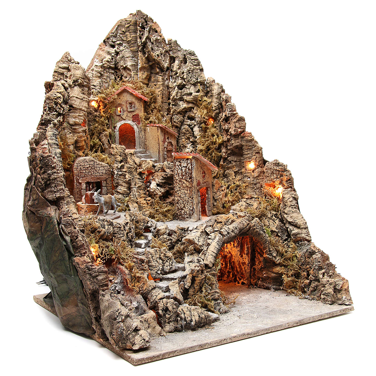 Bourgade illuminée avec grotte et fontaine crèche 68x64x56 cm 4