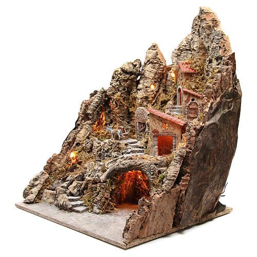 Bourgade illuminée avec grotte et fontaine crèche 68x64x56 cm 2