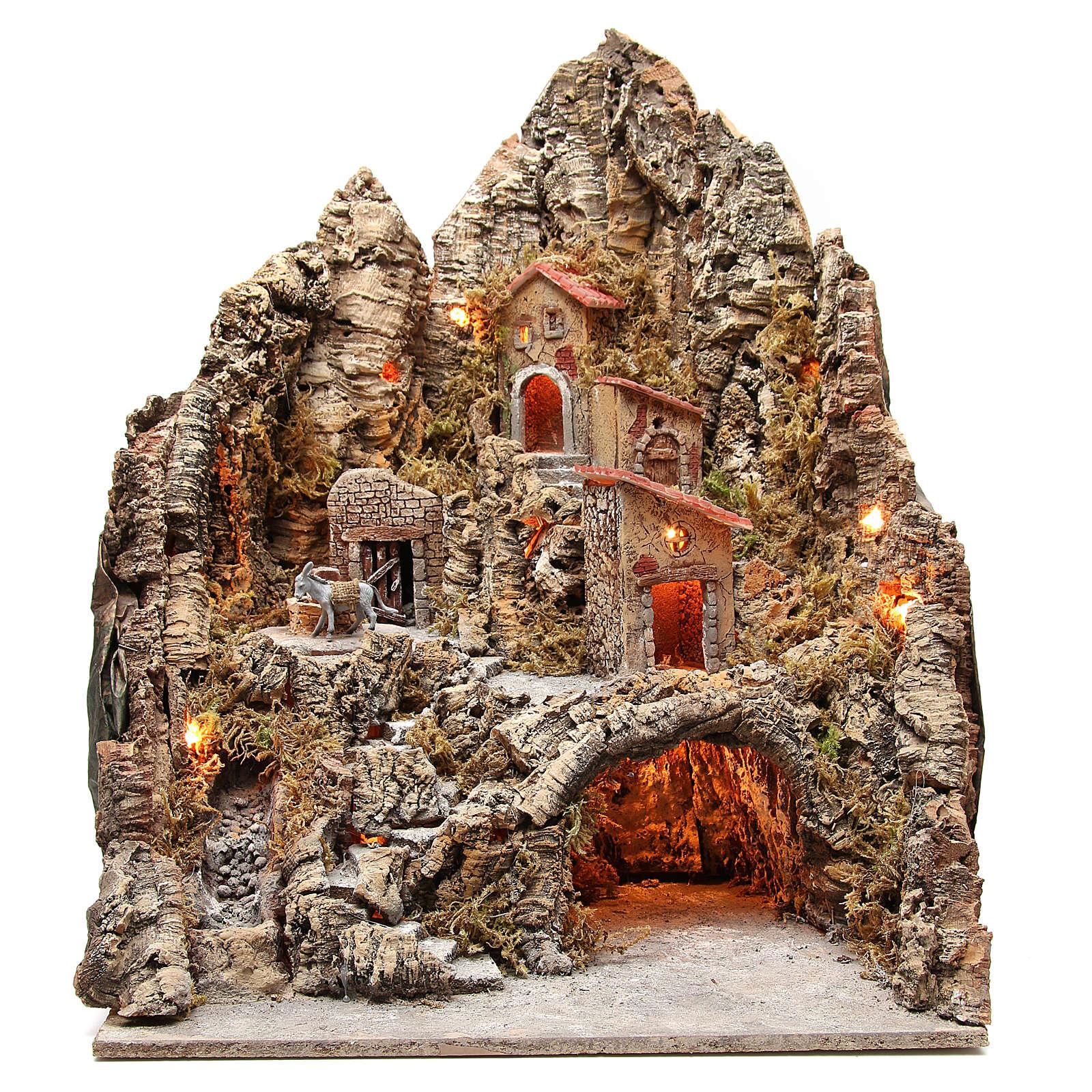 Borgo illuminato con grotta e ruscello presepe 68x64x56 cm 4