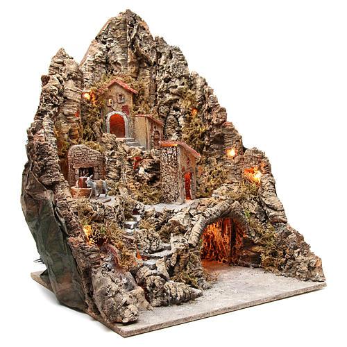 Borgo illuminato con grotta e ruscello presepe 68x64x56 cm 3