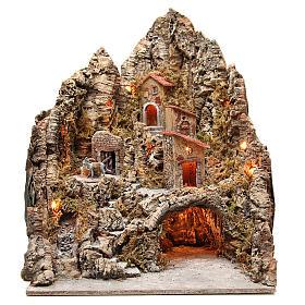 Neapolitan Nativity Scene: Illuminated village with stream and grotto 68x64x56cm