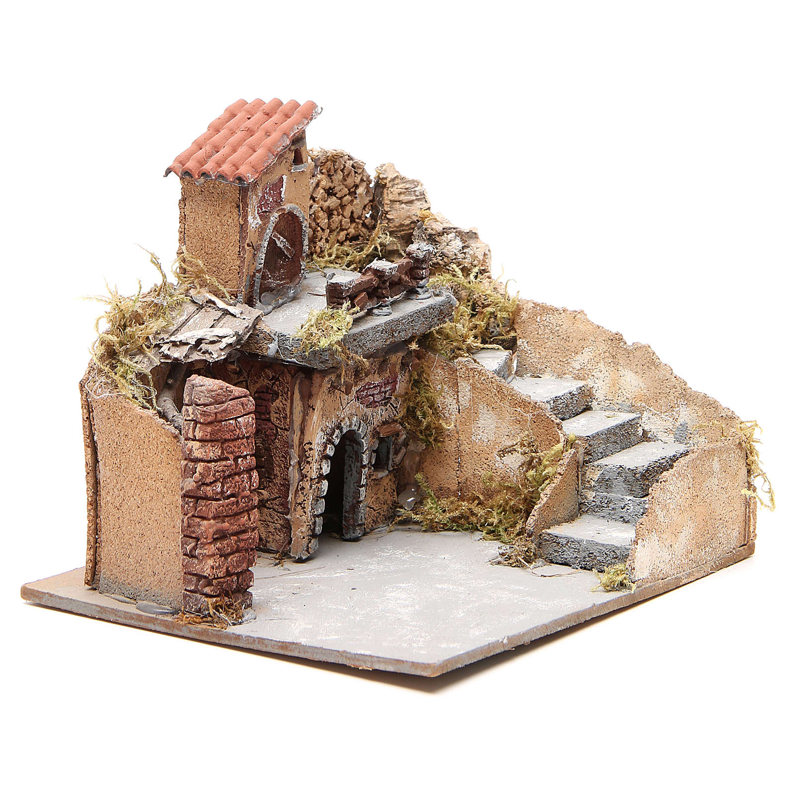 Composition of houses in cork and wood, Neapolitan Nativity, 20x23x20cm 4