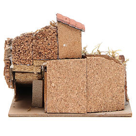 Composition of houses in cork and wood, Neapolitan Nativity, 20x23x20cm s4