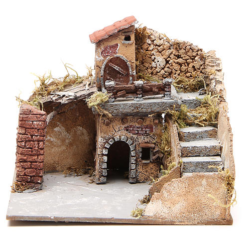 Composition of houses in cork and wood, Neapolitan Nativity, 20x23x20cm 1