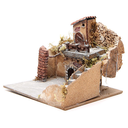 Composition of houses in cork and wood, Neapolitan Nativity, 20x23x20cm 2