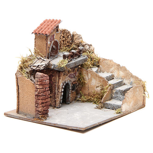 Composition of houses in cork and wood, Neapolitan Nativity, 20x23x20cm 3