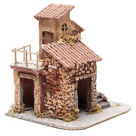 Maisonnette résine et bois crèche napolitaine 25x22x20 cm s3