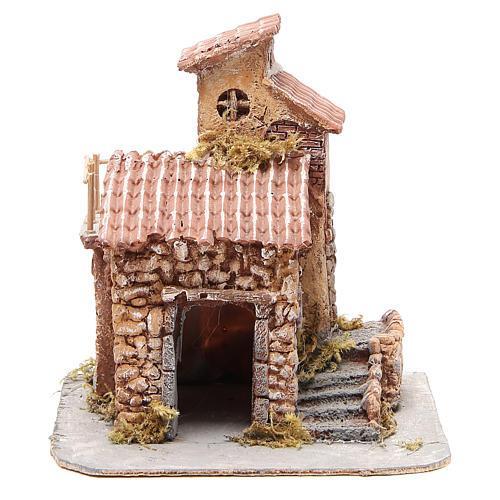 Maisonnette résine et bois crèche napolitaine 25x22x20 cm 1