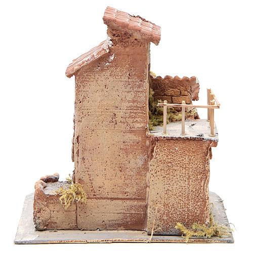 Maisonnette résine et bois crèche napolitaine 25x22x20 cm 4