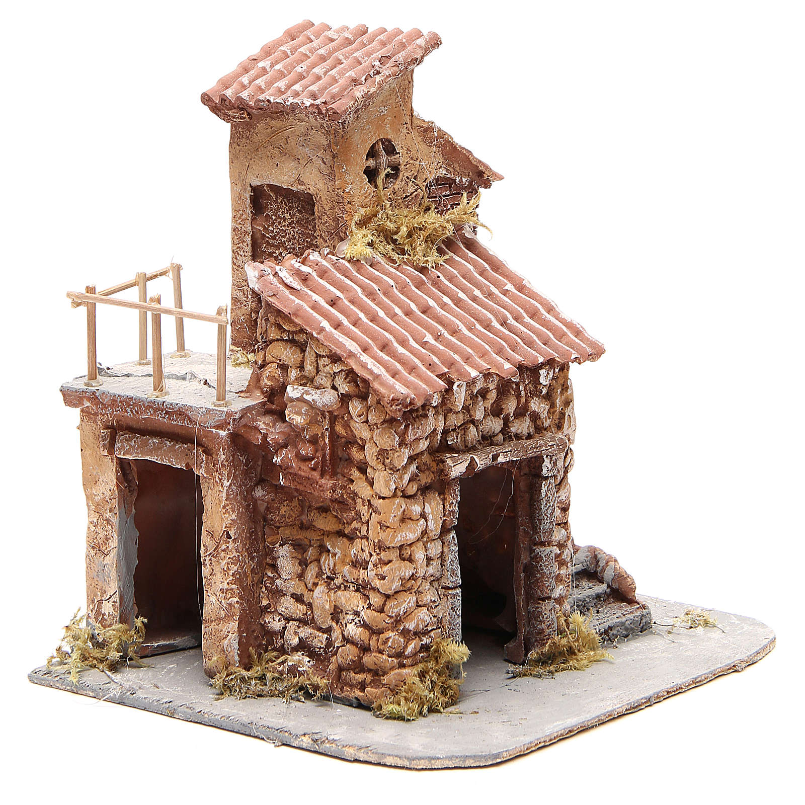 Casetta resina e legno presepe napoletano 25x22x20 cm 4