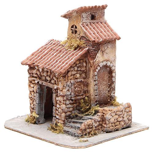 Casetta resina e legno presepe napoletano 25x22x20 cm 2