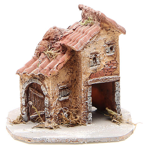 House in wood and resin for nativity scene, 14x14x14cm 1