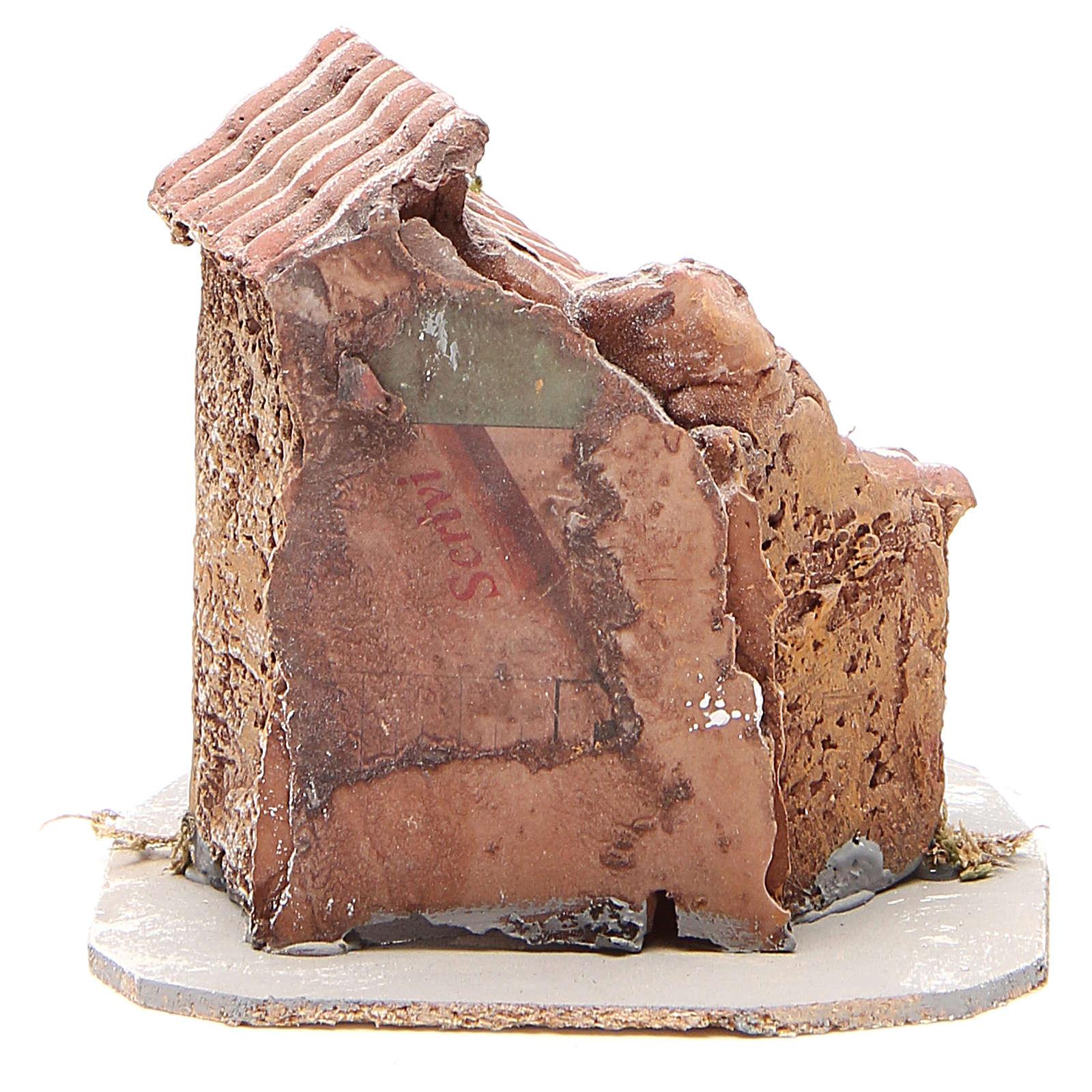 Maison crèche napolitaine résine et bois 14x14x14 cm 4