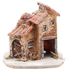 Maison crèche napolitaine résine et bois 14x14x14 cm s1