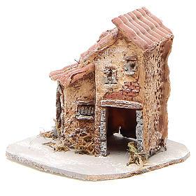 Maison crèche napolitaine résine et bois 14x14x14 cm s2