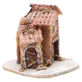 Maison crèche napolitaine résine et bois 14x14x14 cm s3