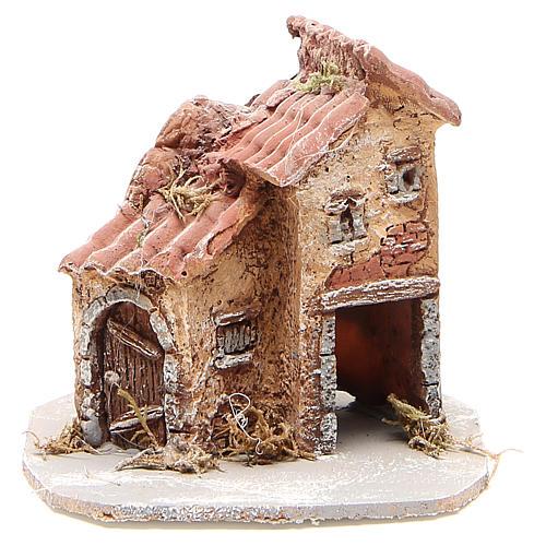Maison crèche napolitaine résine et bois 14x14x14 cm 1